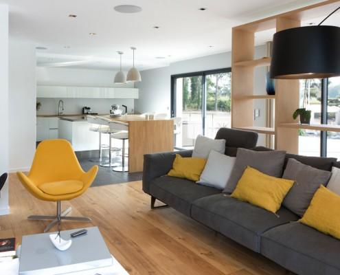 salon contemporain - jaune moutarde-gris-twiggy